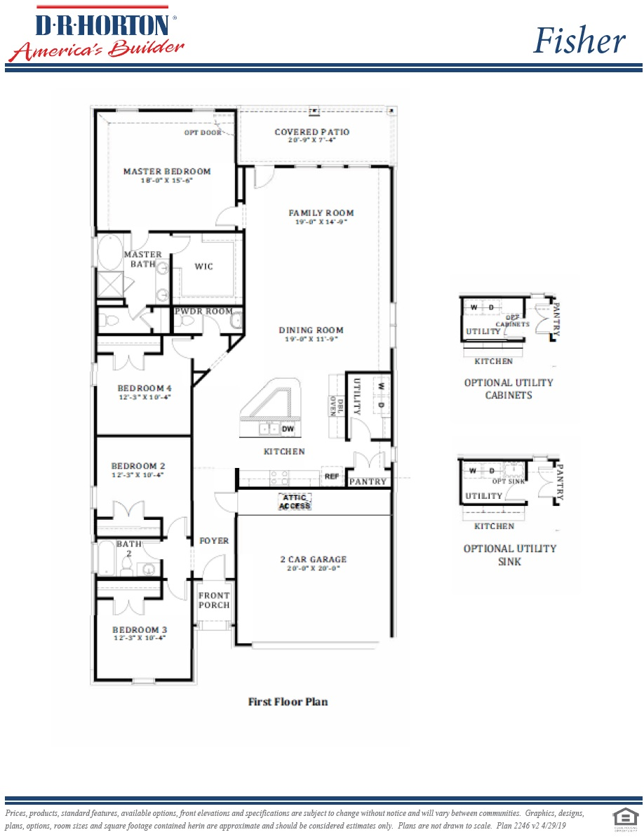D.R. Horton Floor Plan 2246 Fisher