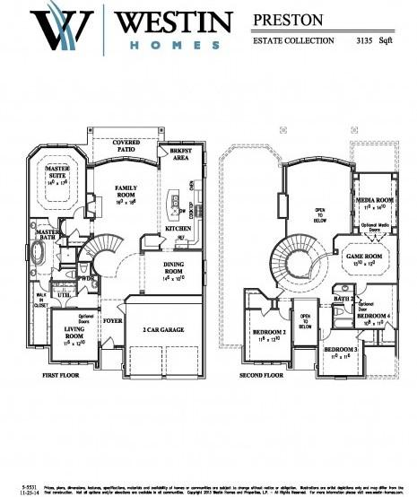 Harvest Green Westin Homes Floor Plan Preston 55531